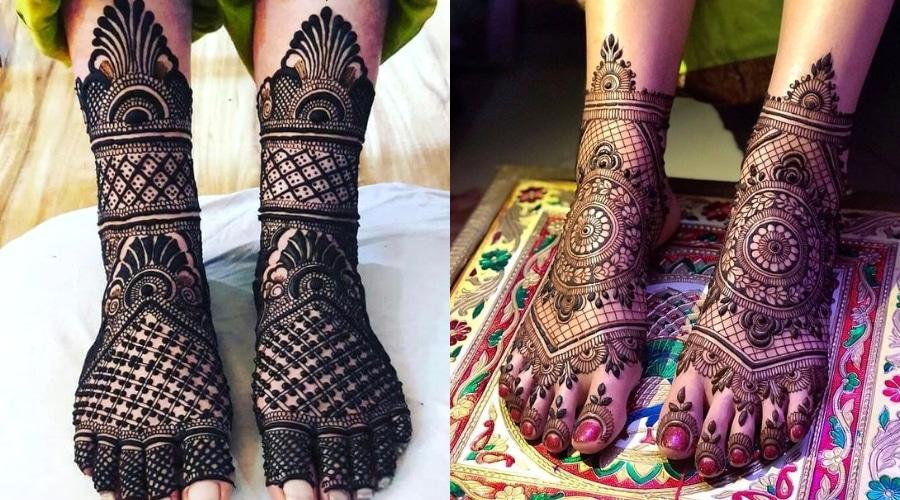 cute simple easy foot mehndi design